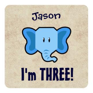 3rd Birthday Cute Blue Elephant Face for BOY E03Z Card