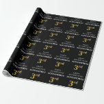 [ Thumbnail: 3rd Birthday: Elegant, Black, Faux Gold Look Wrapping Paper ]