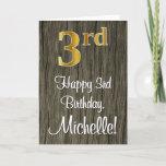 [ Thumbnail: 3rd Birthday: Elegant Faux Gold Look #, Faux Wood Card ]