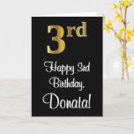 [ Thumbnail: 3rd Birthday ~ Elegant Luxurious Faux Gold Look # Card ]