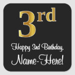 [ Thumbnail: 3rd Birthday – Elegant Luxurious Faux Gold Look # Sticker ]