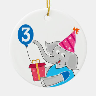 3rd Birthday Elephant Christmas Ornaments