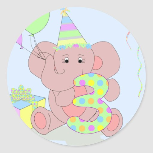 3rd Birthday Elephant Sticker for Boys