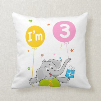 3rd Birthday Elephant with Balloons Throw Pillow