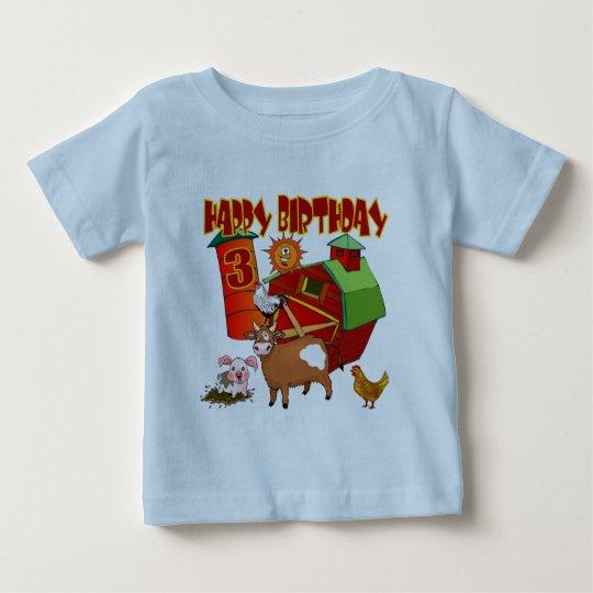 3rd Birthday Farm Birthday Baby T-Shirt
