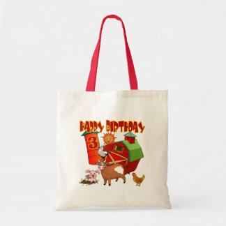 3rd Birthday Farm Birthday Budget Tote Bag