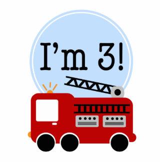 3rd Birthday Fire Truck Cake Topper Statuette