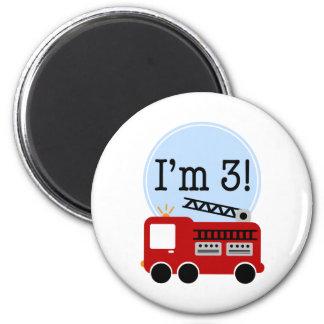 3rd Birthday Firetruck 2 Inch Round Magnet