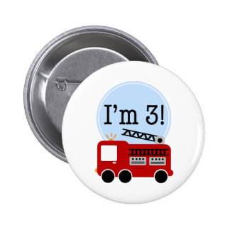 3rd Birthday Firetruck Pinback Button