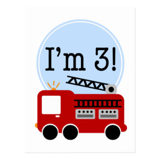 3rd Birthday Firetruck Postcard
