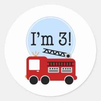 3rd Birthday Firetruck Round Sticker