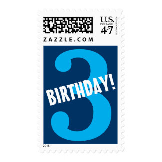 3rd Birthday for Boy Big Bold Blue Number Postage