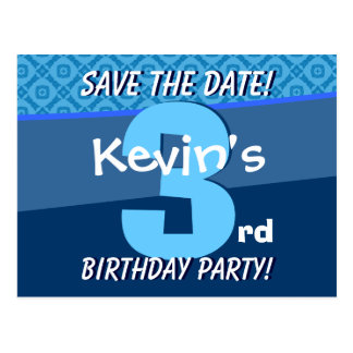 3rd Birthday for Boy Save the Date Blue V07B Postcard