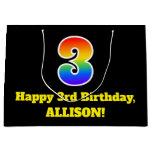 [ Thumbnail: 3rd Birthday ~ Fun, Colorful, Vibrant, Rainbow 3 Gift Bag ]