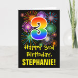 [ Thumbnail: 3rd Birthday: Fun Fireworks Pattern + Rainbow 3 Card ]
