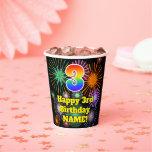 [ Thumbnail: 3rd Birthday: Fun Fireworks Pattern + Rainbow 3 ]