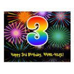 [ Thumbnail: 3rd Birthday – Fun Fireworks Pattern + Rainbow 3 Postcard ]