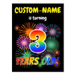 "[ Thumbnail: 3rd Birthday - Fun Fireworks, Rainbow Look ""3"" Postcard ]"