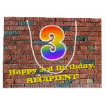 [ Thumbnail: 3rd Birthday: Fun, Graffiti-Inspired Rainbow # 3 Gift Bag ]