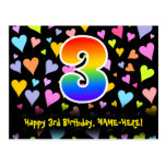 [ Thumbnail: 3rd Birthday: Fun Hearts Pattern, Rainbow 3 Postcard ]