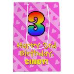 [ Thumbnail: 3rd Birthday: Fun Pink Hearts Stripes & Rainbow 3 Gift Bag ]