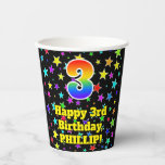 [ Thumbnail: 3rd Birthday: Fun Stars Pattern and Rainbow 3 ]
