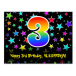 [ Thumbnail: 3rd Birthday: Fun Stars Pattern, Rainbow 3, Name Postcard ]
