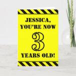 [ Thumbnail: 3rd Birthday: Fun Stencil Style Text, Custom Name Card ]
