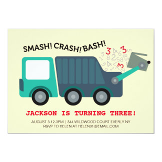 3rd Birthday Garbage Truck Party Card