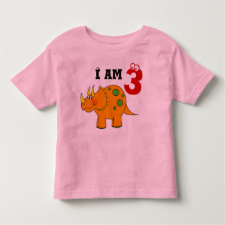 3rd birthday gift, dinosaur triceratops toddler t-shirt