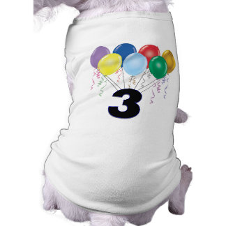 3rd Birthday Gifts with Balloons Doggie Tshirt