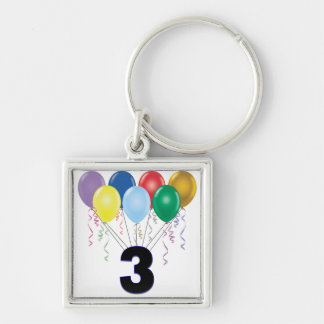 3rd Birthday Gifts with Balloons Keychain