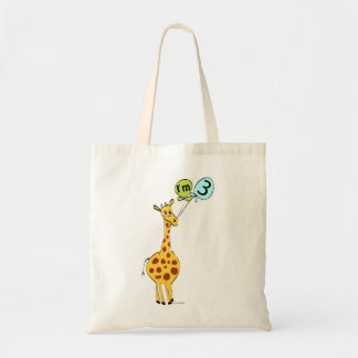3rd Birthday Giraffe and Balloons Tote Bags
