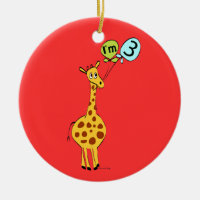 3rd Birthday Giraffe and Balloons Ceramic Ornament