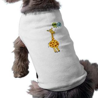 3rd Birthday Giraffe and Balloons Dog T-shirt