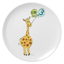 3rd Birthday Giraffe and Balloons Plate