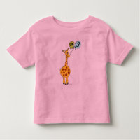 3rd Birthday Giraffe and Balloons Toddler T-shirt