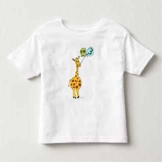 3rd Birthday Giraffe and Balloons Toddler T-shirt