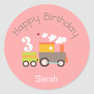 3rd Birthday (Girl) Cupcake Toppers/Stickers Classic Round Sticker