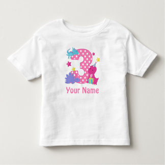 3rd Birthday Girl Dinosaur Personalized T Shirt