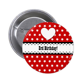 3rd Birthday Girl Heart and Scalloped Ribbon V3C Button