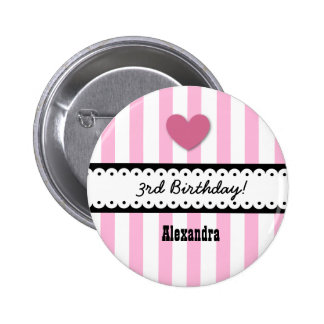 3rd Birthday Girl Heart and Scalloped Ribbon V3C Pinback Button