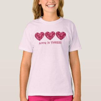 3rd Birthday Girl Hearts Custom Name T-Shirt