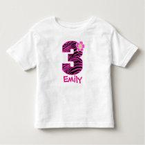 3rd Birthday Girl Hot Pink & Black Zebra pattern Toddler T-shirt