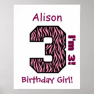 3rd Birthday Girl Pink Zebra Stripes Custom Name Poster