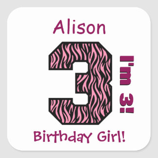 3rd Birthday Girl Pink Zebra Stripes Custom Name Square Sticker