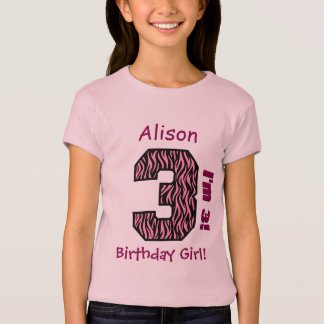 3rd Birthday Girl Pink Zebra Stripes Custom Name T-Shirt