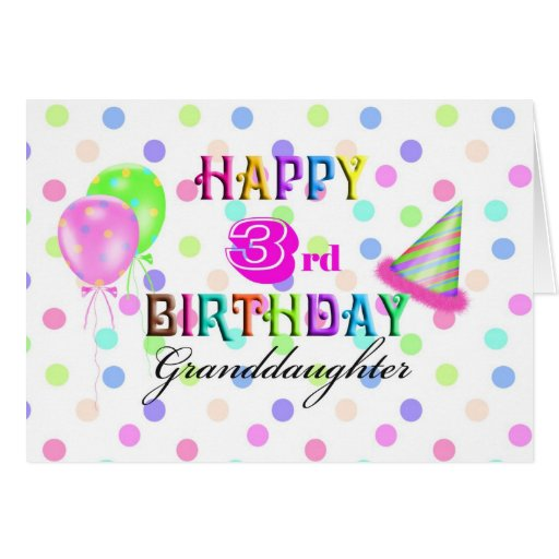 3rd Birthday Granddaughter Greeting Cards