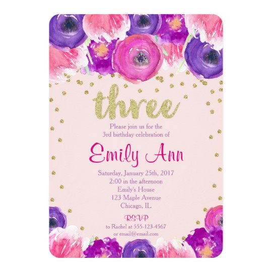 3rd birthday invitation girl pink purple gold Zazzlecom