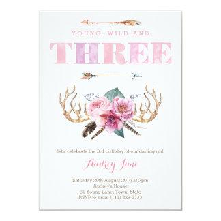 3rd birthday invitations, bohemian birthday party card